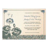 Water lily and dragonfly wedding invitation