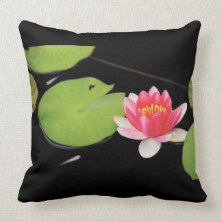 Water lily and Medaka Throw Pillow