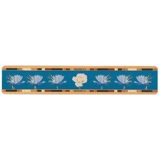 Water Lily and Rose on Blue Wood Keyrack