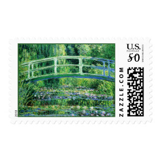 Water Lily Blooms Japanese Bridge, Claude Monet Postage