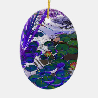 Water Lily Blue Oval Shaped Ornament