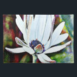"""Water Lily Cloth Placemat<br><div class=""""desc"""">A pretty white water lily with dewy petals</div>"""