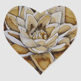 Water Lily Coffee and Ink Heart Sticker