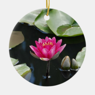 water lily Double-Sided ceramic round christmas ornament