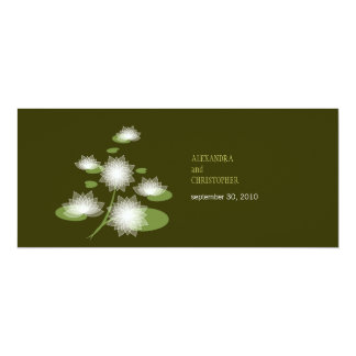 """Water Lily Elegant Simple Contemporary Wedding 4"""" X 9.25"""" Invitation Card"""