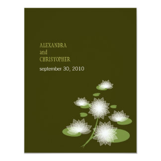 """Water Lily Elegant Simple Contemporary Wedding 4.25"""" X 5.5"""" Invitation Card"""