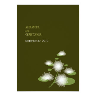 """Water Lily Elegant Simple Contemporary Wedding 5"""" X 7"""" Invitation Card"""