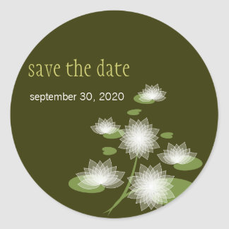 Water Lily Elegant Simple Save The Date Wedding Classic Round Sticker
