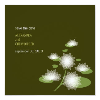 """Water Lily Elegant Simple Save The Date Wedding 5.25"""" Square Invitation Card"""