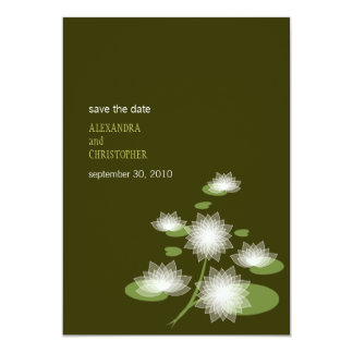 """Water Lily Elegant Simple Save The Date Wedding 5"""" X 7"""" Invitation Card"""