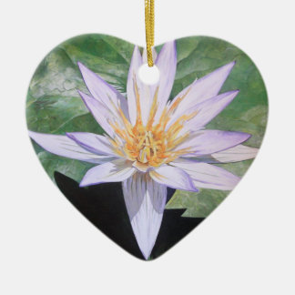 Water Lily Fine Art Double-Sided Heart Ceramic Christmas Ornament