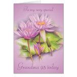 Water lily floral Grandma 95th birthday card