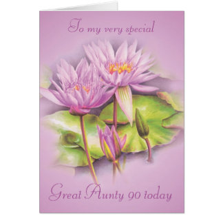 Water lily floral Great Aunty 90 birthday card
