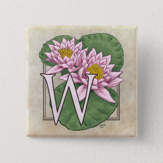 Water Lily Flower Monogram Button