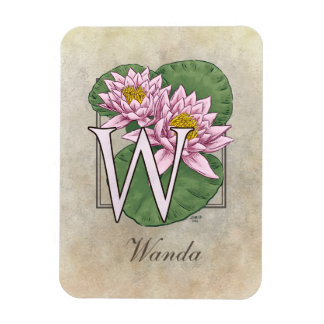 Water Lily Flower Monogram Magnet