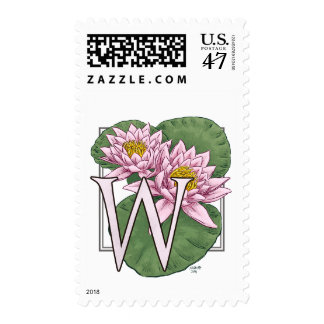 Water Lily Flower Monogram Postage