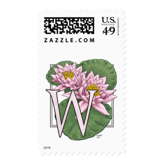Water Lily Flower Monogram Postage Stamps