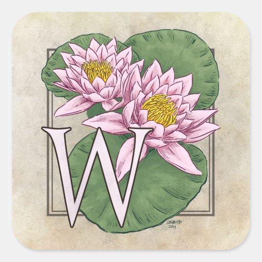 Water Lily Flower Monogram Square Sticker