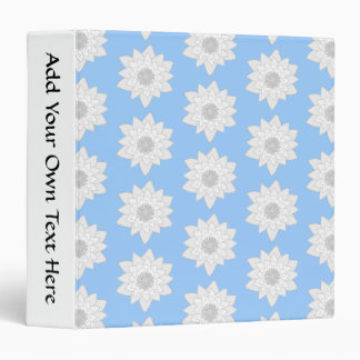 Water Lily Flower Pattern. Blue, White and Gray. 3 Ring Binder