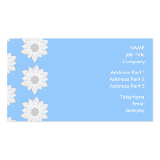 Water Lily Flower Pattern. Blue, White and Gray. Business Card