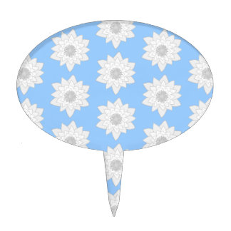 Water Lily Flower Pattern. Blue, White and Gray. Cake Picks