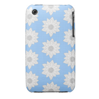 Water Lily Flower Pattern Blue White and Gray iPhone 3 Case-Mate Case