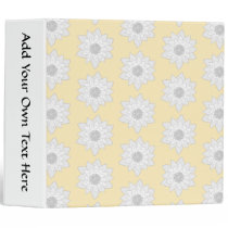 Water Lily Flower Pattern. White, Gray and Yellow. 3 Ring Binder
