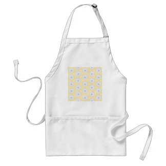 Water Lily Flower Pattern. White, Gray and Yellow. Adult Apron