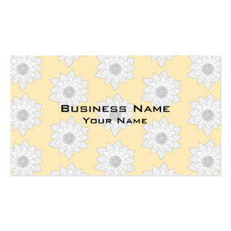 Water Lily Flower Pattern. White, Gray and Yellow. Business Card
