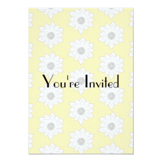 Water Lily Flower Pattern. White, Gray and Yellow. Card