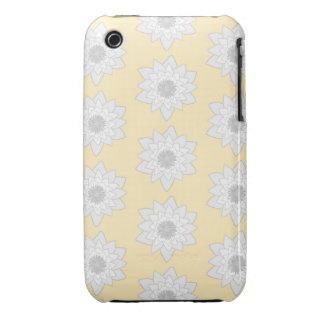 Water Lily Flower Pattern White Gray and Yellow iPhone 3 Cover