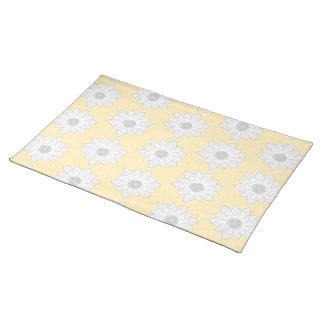 Water Lily Flower Pattern. White, Gray and Yellow. Cloth Placemat