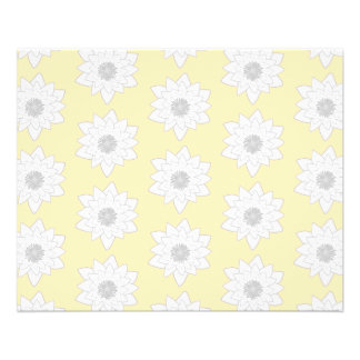 Water Lily Flower Pattern. White, Gray and Yellow. Flyer