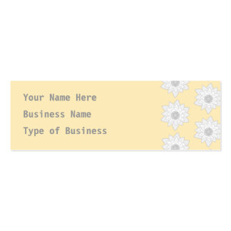 Water Lily Flower Pattern. White, Gray and Yellow. Mini Business Card