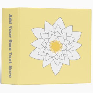 Water Lily Flower. White and Yellow. Style 2. 3 Ring Binder
