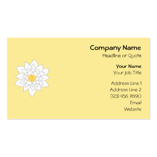 Water Lily Flower. White and Yellow. Style 2. Business Card