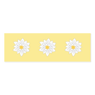 Water Lily Flower. White and Yellow. Style 2. Mini Business Card