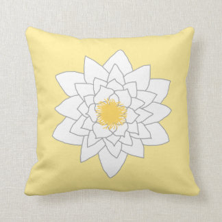 Water Lily Flower White and Yellow Style 2 Pillows