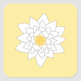 Water Lily Flower. White and Yellow. Style 2. Square Sticker