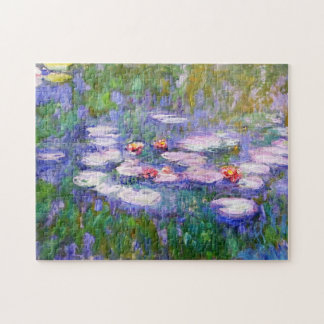 Water Lily Flowers in Bloom Claude Monet Fine Art Jigsaw Puzzle