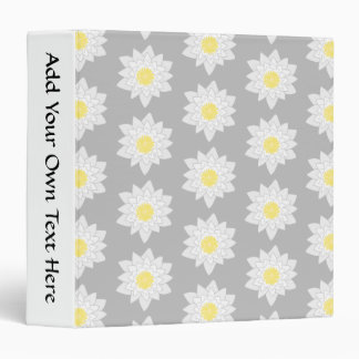 Water Lily Flowers. White, Yellow and Gray. 3 Ring Binder