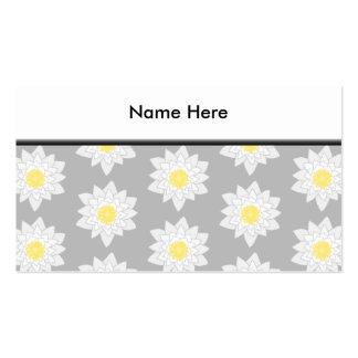 Water Lily Flowers. White, Yellow and Gray. Business Card