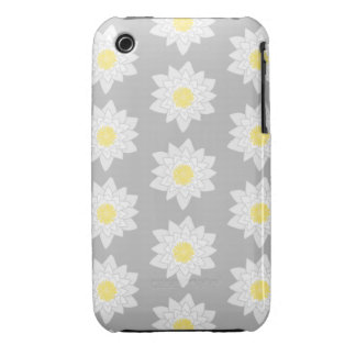 Water Lily Flowers White Yellow and Gray Case-Mate iPhone 3 Cases