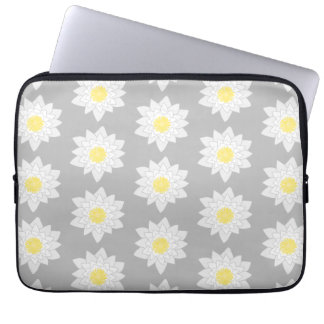 Water Lily Flowers White Yellow and Gray Computer Sleeves