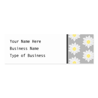 Water Lily Flowers. White, Yellow and Gray. Mini Business Card