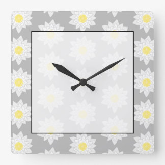 Water Lily Flowers. White, Yellow and Gray. Wall Clock