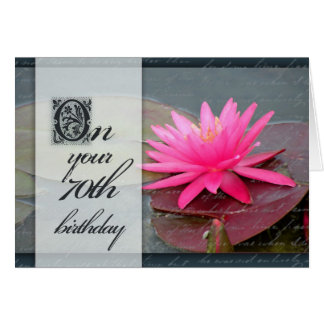 Water lily for 70th birthday greeting card