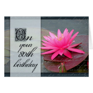 Water lily for 80th birthday greeting card