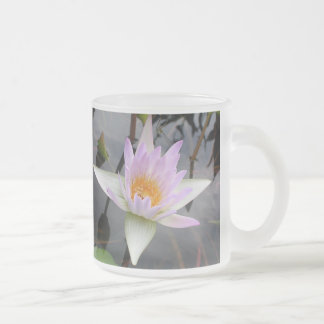 Water Lily Frosted Glass Coffee Mug