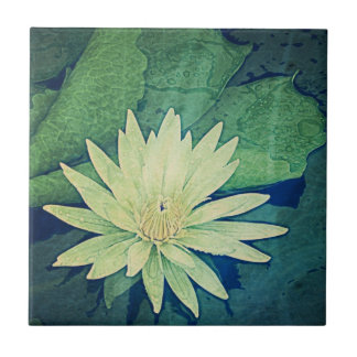 Water Lily Green Flower Ceramic Tile